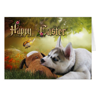 Siberian Husky Puppy Easter Card