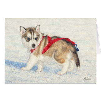 Siberian Husky Puppy In Snow Card