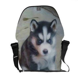 Siberian Husky puppy Messenger Bags