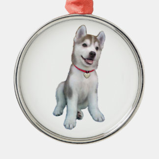 Siberian Husky Puppy Metal Ornament