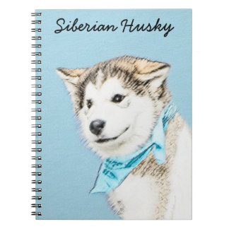 Siberian Husky Puppy Painting - Original Dog Art Notebook