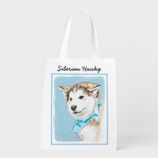 Siberian Husky Puppy Reusable Grocery Bag