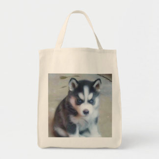 Siberian Husky puppy tote bag