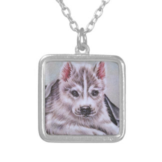 Siberian Husky Puppy with Blanket Drawing Square Pendant Necklace