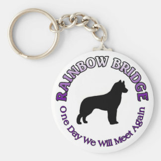 SIBERIAN HUSKY RAINBOW BRIDGE SYMPATHY DOG BASIC ROUND BUTTON KEYCHAIN