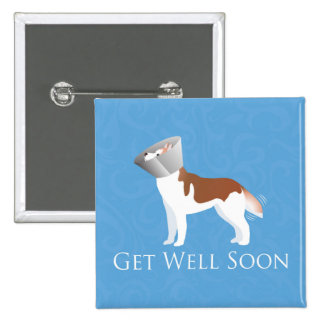 Siberian Husky - Red - Get Well Soon Design 2 Inch Square Button