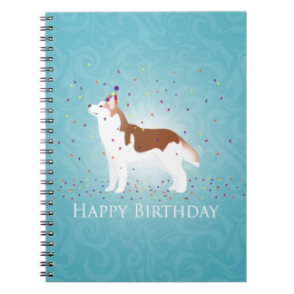 Siberian Husky - Red - Happy Birthday Design Notebook