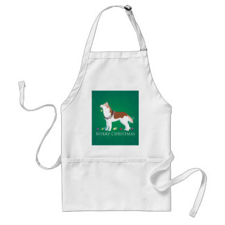 Siberian Husky - Red - Merry Christmas Design Standard Apron