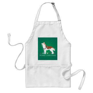 Siberian Husky - Red - Merry Christmas Design Standard Apron