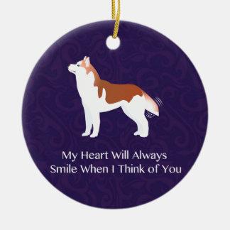 Siberian Husky - Red - Thinking of You Design Ceramic Ornament