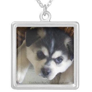 Siberian Husky Rescue Puppy Square Pendant Necklace