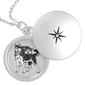 siberian husky round locket necklace