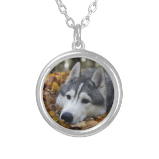 Siberian Husky Round Pendant Necklace