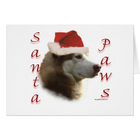 Siberian Husky Santa Paws Card