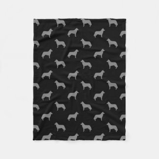 Siberian Husky Silhouettes Pattern Fleece Blanket