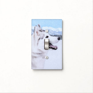 Siberian Husky (Silver and White) Light Switch Cover