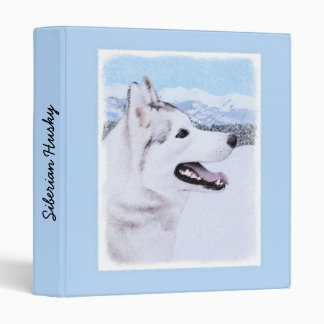 Siberian Husky (Silver and White) Painting Dog Art 3 Ring Binders