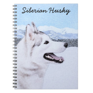 Siberian Husky (Silver and White) Painting Dog Art Notebook