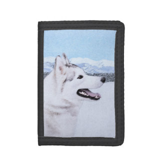 Siberian Husky (Silver and White) Tri-fold Wallets