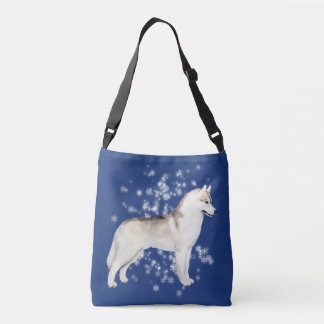 Siberian Husky Snow Flurry Crossover Bag Deep Blue