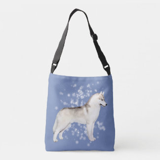 Siberian Husky Snow Flurry Crossover Bag Lt. Blue
