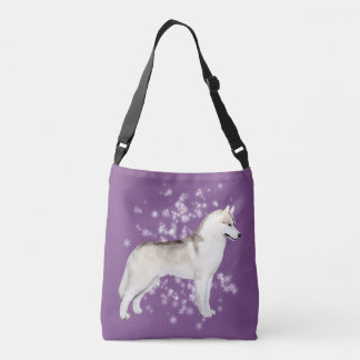 Siberian Husky Snow Flurry Crossover Bag Purple