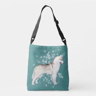 Siberian Husky Snow Flurry Crossover Bag Teal
