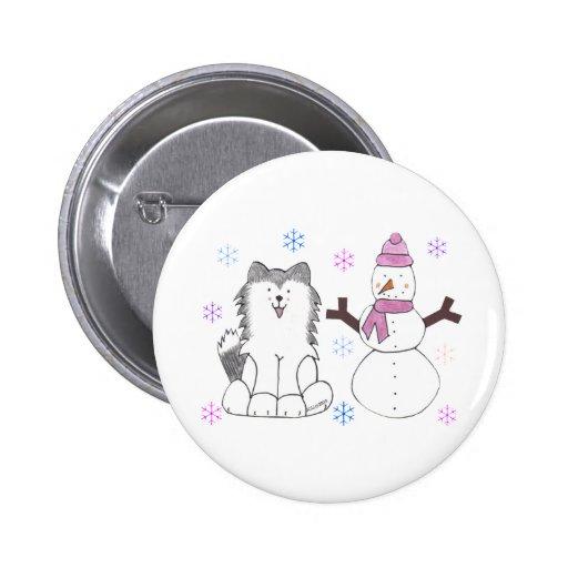Siberian Husky & Snowman Pinback Button