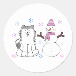 Siberian Husky & Snowman Classic Round Sticker