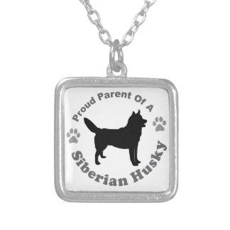 Siberian Husky Square Pendant Necklace