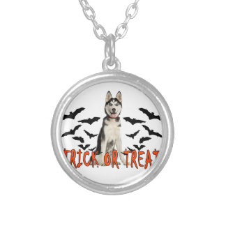Siberian Husky Trick T Shirts.png Round Pendant Necklace