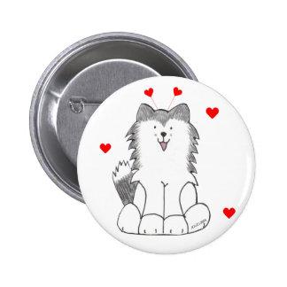 Siberian Husky Valentine Ears 2 Inch Round Button