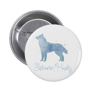 Siberian Husky Watercolor Design 2 Inch Round Button