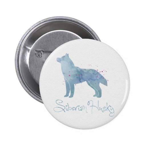 Siberian Husky Watercolor Design Pinback Buttons