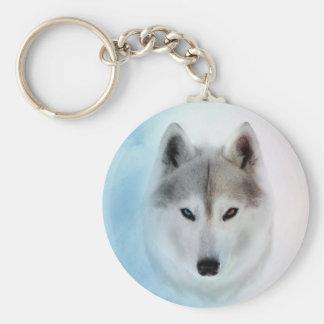 Siberian Husky Watercolor style Keychain