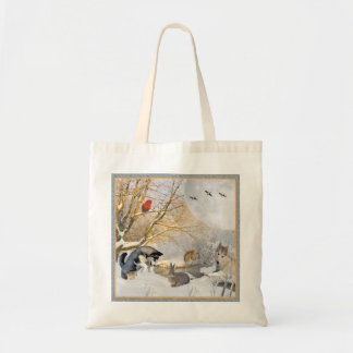 Siberian Husky Winter Fun With Friends Tote Bag