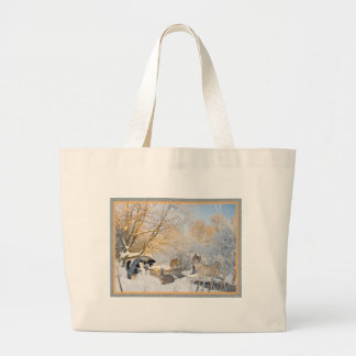 Siberian Husky Winter Fun With Friends Tote Bag