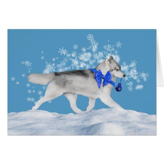 Siberian Husky Winter Holiday Card