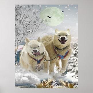 Siberian Husky Winter Scene Print