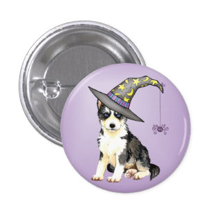 Siberian Husky Witch Pinback Buttons
