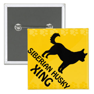 Siberian Husky Xing 2 Inch Square Button
