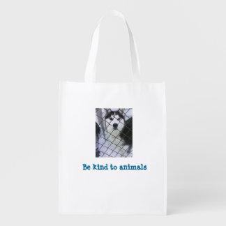 Siberian Husky Grocery Bag