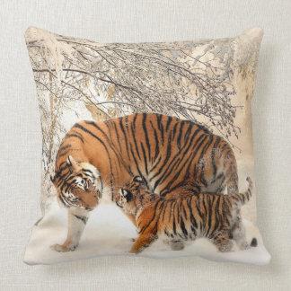 Siberian Tiger and Cub Pillow