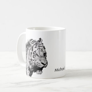 Siberian Tiger black white sketch personal name Coffee Mug