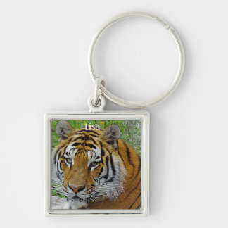 Siberian Tiger Closeup Photo of Face Keychain