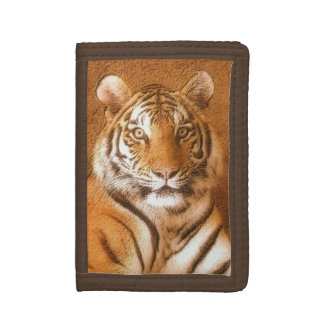 Siberian Tiger Portrait Brown Nylon Wallet