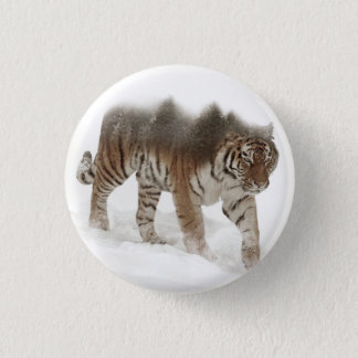 Siberian tiger-Tiger-double exposure-wildlife 1 Inch Round Button