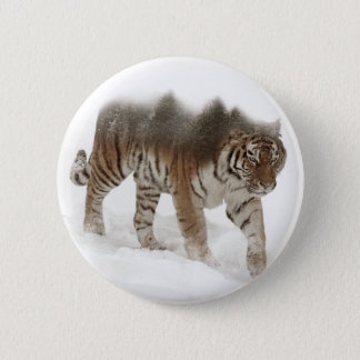 Siberian tiger-Tiger-double exposure-wildlife 2 Inch Round Button