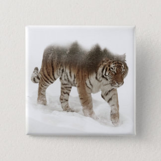 Siberian tiger-Tiger-double exposure-wildlife 2 Inch Square Button