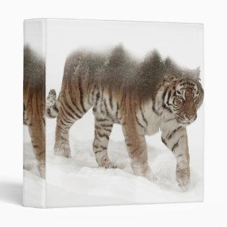 Siberian tiger-Tiger-double exposure-wildlife 3 Ring Binders